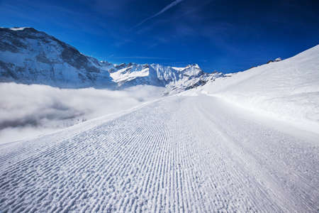 corduroy: View to Ski slopes with the corduroy pattern in Elm ski resort, Swiss Alps, Switzerland Stock Photo