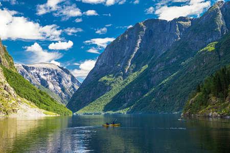 neroyfjord: View to Neroyfjord - the narrowest fjord in Norway, Gudvangen, Norway