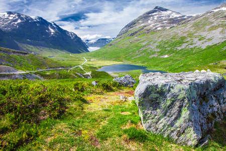 steep: Valley on the Trollstigen (Trolls road) Norway, Europe Stock Photo