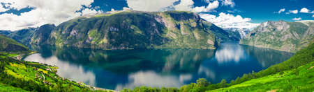 sognefjord: Beautiful panorama with view to Aurland, Aurlandfjord and Sognefjord from Stegastein in Norway, Europe. Sognefjord is largest and second longest fjord in the world.