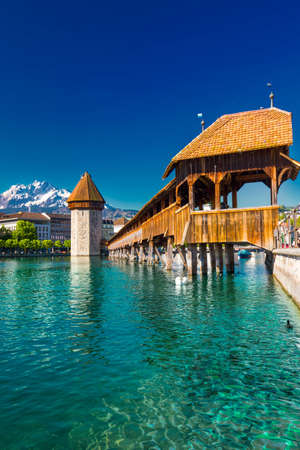 Historic city center of Lucerne with famous Chapel Bridge and lake Lucerne (Vierwaldstatersee), Canton of Lucerne, Switzerland
