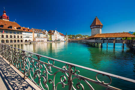 Historic city center of Lucerne with famous Chapel Bridge and lake Lucerne (Vierwaldstattersee), Canton of Lucerne, Switzerland Stock Photo