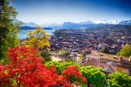 Historic city center of Lucerne with famous Pilatus mountain and Swiss Alps, Luzern, Switzerland Stock Photo