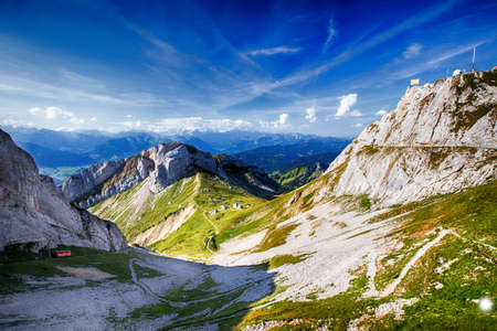 vastness: Beautiful view to Lucerne lake (Vierwaldstattersee) and Swiss Alps from Pilatus, Central Switzerland Stock Photo