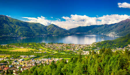 View to Locarno city from Cardada mountain, Swiss Alps, Switzerland Stock Photo