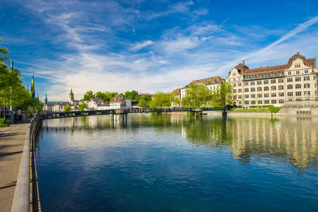 View of historic Zurich city center with famous Fraumunster Church, Limmat river and Zurich lake Stock Photo