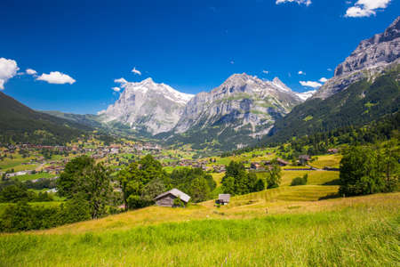 View to famous Grindelwald valley, green forest, Alps chalets and Swiss Alps (Schreckhorn, Berglistock and Wetterhorn) in the background, Berner Oberland, Switzerland, Europe.