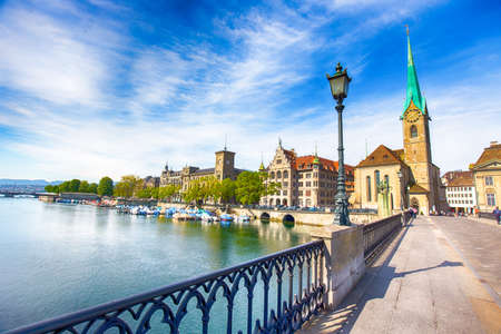 View of historic Zurich city center with famous Fraumunster Church, Limmat river and Zurich lake, Zurich, Switzerland Stock Photo