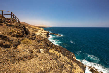 View to Ajuy coastline with vulcanic mountains on Fuerteventura island, Canary Islands, Spain. Stock Photo