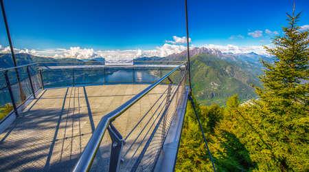 View to Locarno city from Cardada mountain, Swiss Alps, Switzerland Stock Photo