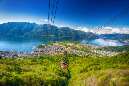 View to Locarno city from Cardada mountain, Swiss Alps, Switzerland 免版税图像