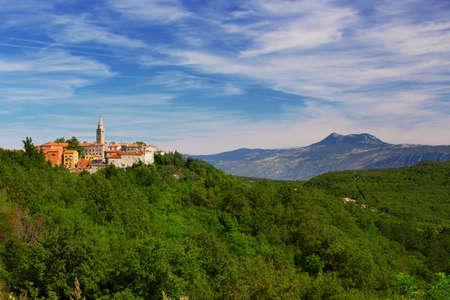 Old village on the top of the mountain in Labin, Istria, Croatia