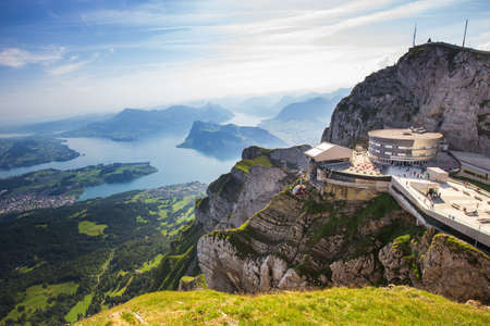PILATUS - LUZERN, SWITZERLAND - world's steepest cogwheel railway and view to Swiss Alps from the top of Pilatus mountain