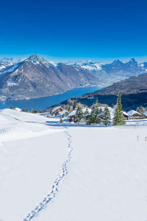 View to Grosser, Kleiner Mythen, lake Luzern and Rigi from Klewenalp ski resort, Central Switzerland