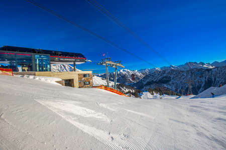 OBERSDORF, GERMANY: View to Ski slopes and ski chairlifts on the top of Fellhorn Ski resort, Bavarian Alps, Oberstdorf, Germany