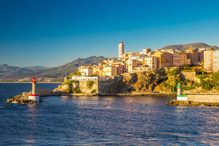 View to Bastia old city center, lighthouse and harbour. Bastia is second biggest town on Corsica, France, Europe. Stock Photo