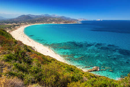 Beautiful view to Plage de Lozari near Lile Rousse, Corsica, France, Europe. 免版税图像