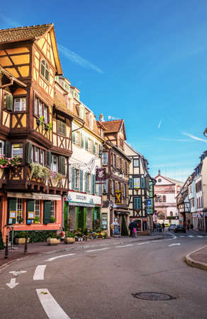 Colmar street view to colorful traditional french houses, Alsace, France Editorial