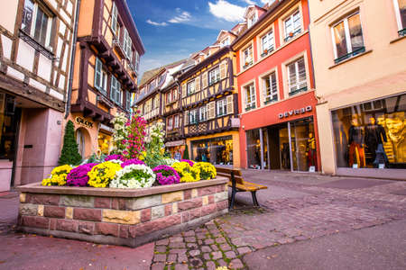 the little venice: Colmar street view to colorful traditional french houses, Alsace, France Editorial