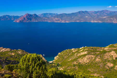 Stunning scenery of D81 road through the Calanques de Piana on the west coast of Corsica, France, Europe.