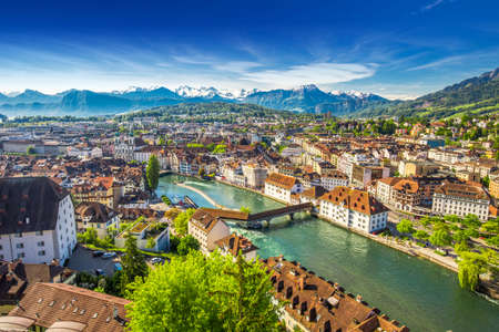 high view: View to Pilatus mountain and historic city center of Luzern, Switzerland. Stock Photo