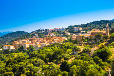Sartene old town with green forest and mountains, Corsica, France, Europe.