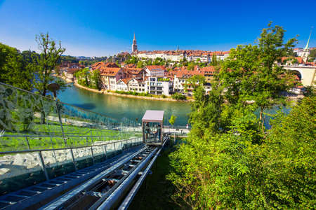 Funicular in the Bern city center. Bern is capital of Switzerland and fourth most populous city in Switzerland. 免版税图像