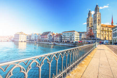 View of historic Zurich city center with famous Fraumunster Church, Limmat river and Zurich lake, Zurich, Switzerland 新闻类图片