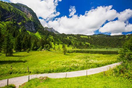 Pathway leading to Lauenensee lake near Gstaad, Berner Oberland, Switzerland, Europe.