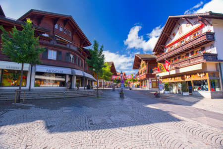 gstaad: Old city center of Gstaad town, famous ski resort in canton Bern, Switzerland.