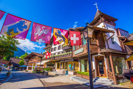 old center: Old city center of Gstaad town, famous ski resort in canton Bern, Switzerland.