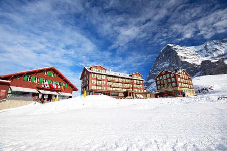 monch: KLEINE SCHEIDEGG, SWITZERLAND - January 2017 - Jungfrau ski resort with famous Eiger, Monch and Jungfrau peaks in Swiss Alps, Grindelwald, Berner Oberland, Switzerland. Editorial