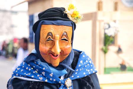 fasching: LUZERN, SWITZERLAND - Feb 26, 2017 - Traditional carnival parade of carnival masks in Luzern, Switzerland.