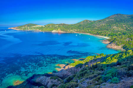Stunning Corsica coastline with sandy beach and tourquise water, Corsica, France, Europe.