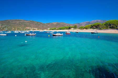 PORTICCIO, CORSE, FRANCE - Août 2016 - Mediteranian île Corse avec des pins, plage de sable fin, eau claire et Tourquise yachts dans la baie, Corse, France Banque d'images - 76465146