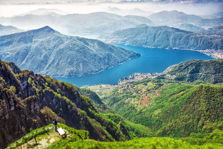 View to Lugano city, San Salvatore mountain and Lugano lake from Monte Generoso, Canton Ticino, Switzerland