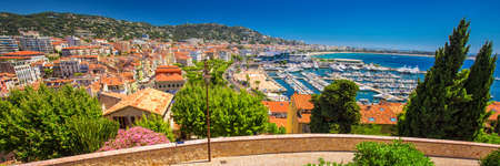 Coastline view on french riviera with yachts in Cannes city center, French, Europa