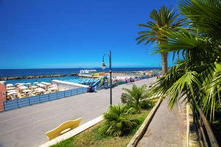 SANREMO, ITALY - July 2017 - Beach at Sanremo promenade, Mediterranean Coast, Italien riviera, Italy, Europe. Editorial