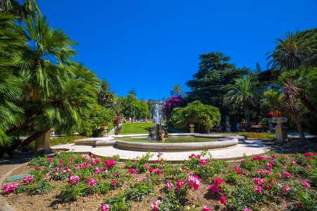 Sanremo promenade with garden, Mediterranean Coast, Italian riviera, Italy, Europe. Stock Photo