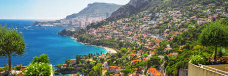 View to Monte Carlo and Monaco from Roquebrune Cap-Martin, French riviera, France, Europe.