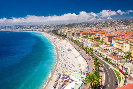 Beach promenade in old city center of Nice, French riviera, France, Europe. Banco de Imagens - 83778174