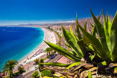 Beach promenade in old city center of Nice, French riviera, France, Europe.