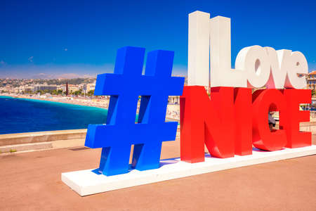 Hash tag on beach promenade in old city center of Nice, French riviera, France, Europe.