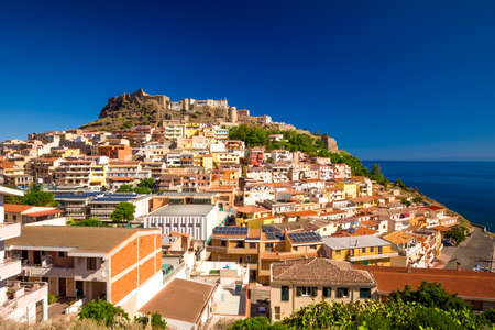 castel: Castel and colorful houses in Castelsardo town, Sardinia, Italy.