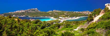 Beautiful coastline view to Spaggia Zia Culumba and Spaggia Rena Di Ponente and azure clear water, Capo Testa, Sardinia