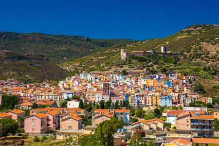 BOSA, SARDINIA - August 2017 - Bosa old city center with colorful houses and Fiume Temo river, Sardinia, Italy, Europe.