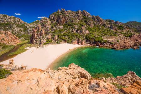 Beautiful coastline view to Spaggia di Li Cossi and azure clear water, Costa Paradiso, Sardinia, Italy, Europe.