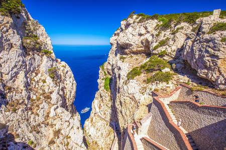 The stairway leading to the Cave of Neptune (Neptunes Grotto), in Capo Caccia cliffs, Alghero, Sardinia, Italy.