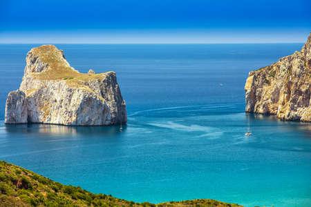 Spaggia di Masua beach and Pan di Zucchero,  Costa Verde, Sardinia, Italy.