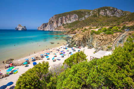 Spaggia di Masua beach and Pan di Zucchero, Costa Verde,  Sardinia, Italy. Stock Photo